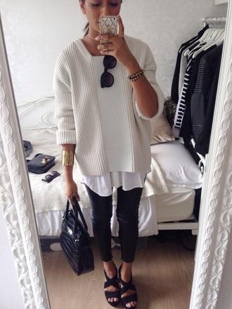 shirt white knit classy