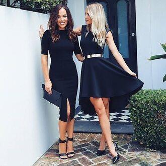 dress work dress sleeveless dress mid length dress black dress high neck short sleeve dress