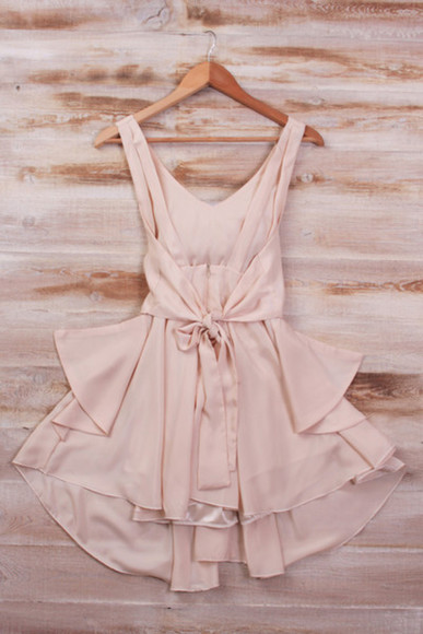 dress romantic girly bow beige bowdress dreamy