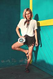 xander vintage,blogger,black shorts,white top,shoulder bag,mini bag,flats,silk scarf,printed scarf,flat sandals,slide shoes,evil eye,pom poms,h&m,embellished bag