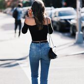 top,tumblr,off the shoulder,black top,off the shoulder top,bag,black bag,denim,jeans,blue jeans,streetstyle