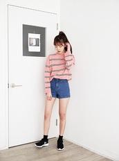 sweater,nike,pink,stripes,grunge,stylish,hip,trendy,pinterest,90s style,korean fashion,pink striped