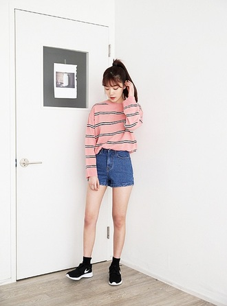 sweater nike pink stripes grunge stylish hip trendy pinterest 90s style korean fashion pink striped