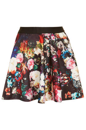 **Floral Printed Skater Skirt by Rare - Topshop