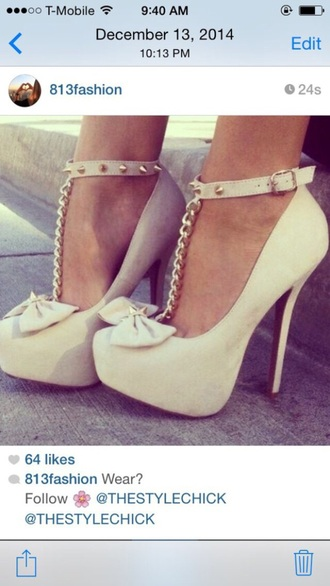 shoes bow spikes chain nude heels fashion