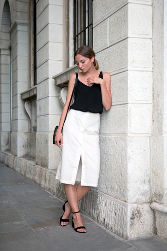 top tumblr black top tank top skirt midi skirt white skirt slit skirt sandals sandal heels high heel sandals shoes