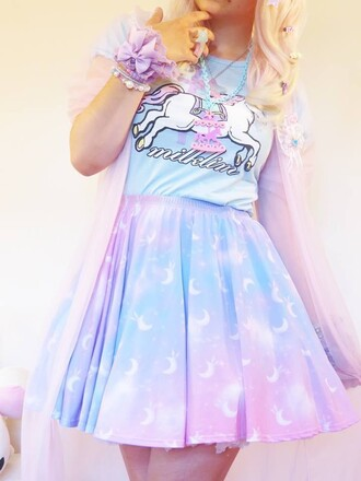 skirt light blue pastel kawaii unicorn moon pink blue skirt light pink white cute