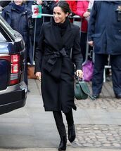 coat,black,meghan markle,black coat,stella mccartney,jeans,shoes,boots,ankle boots,tabitha simmons