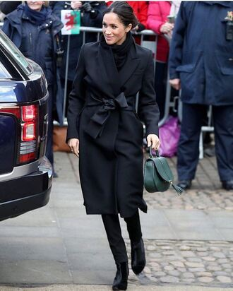 coat black meghan markle black coat stella mccartney jeans shoes boots ankle boots tabitha simmons