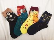 socks,art,arty,munch,edvard munch,gustav klimt,van gogh,painting,cool,cute,mona lisa,printed socks,colorful,harajuku,black,red,yellow,green,blue