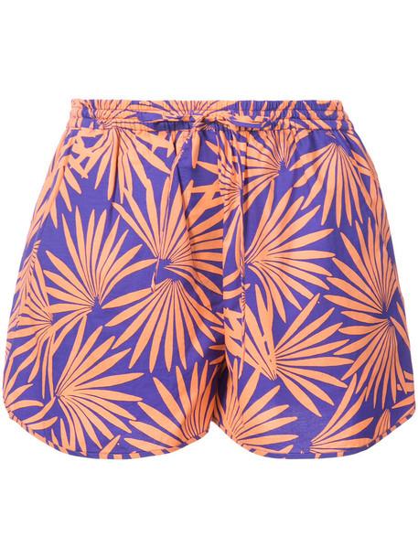 Dvf Diane Von Furstenberg shorts tropical print shorts tropical women cotton print purple pink