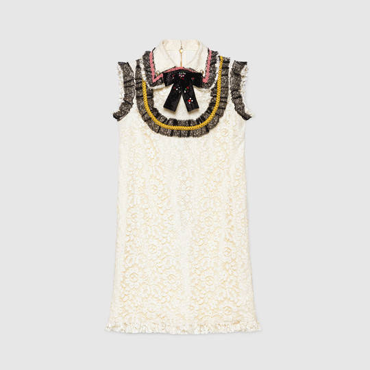4b38f244f Gucci Cluny lace dress with embroidery