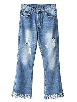 Blue Distressed Rip Detail Frayed Hem Crop Flared Jeans - Choies.com