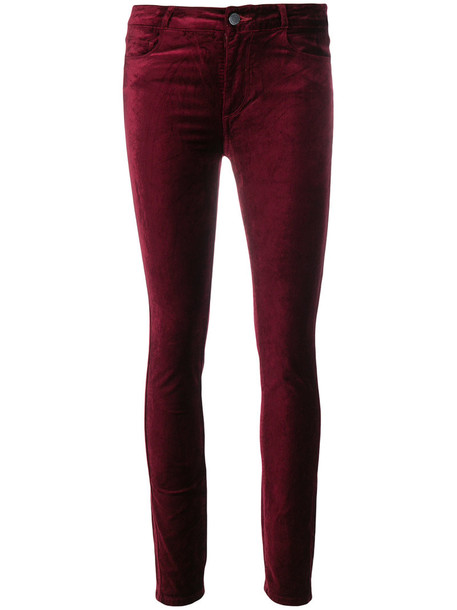 Paige cropped women spandex cotton red pants