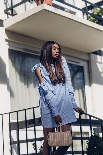 bisous natascha blogger dress bag shoes mini dress blue dress spring outfits