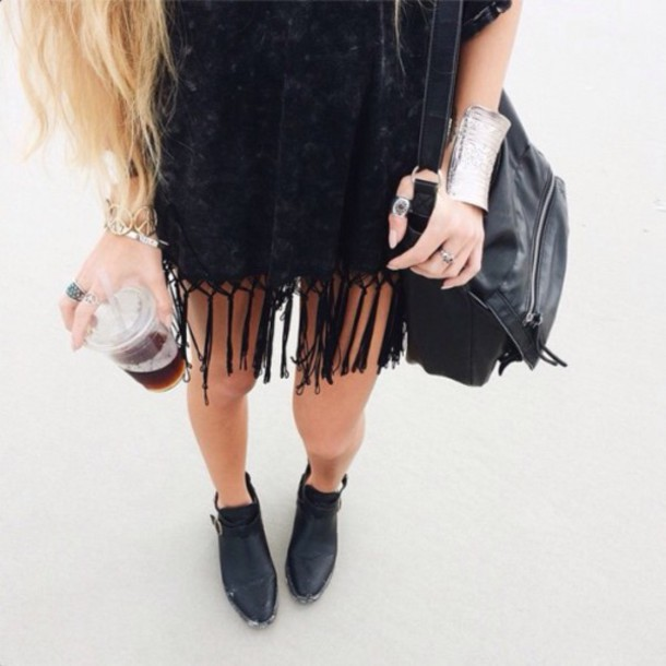 dress tumblr black dress bag black bag coffee boots black boots ankle boots fringed dress cuff bracelet bracelets silver bracelet ring accessories