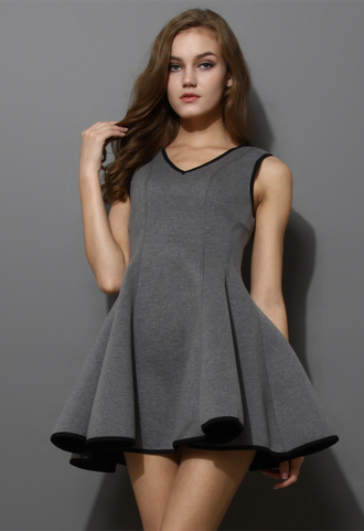 dress v neck skater grey