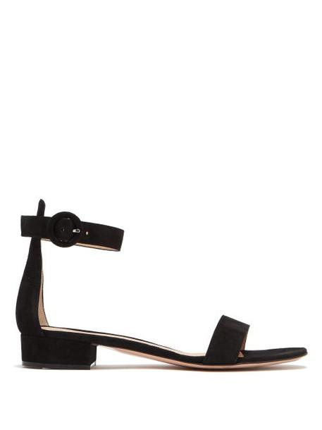 Gianvito Rossi - Portofino 20 Block Heel Suede Sandals - Womens - Black