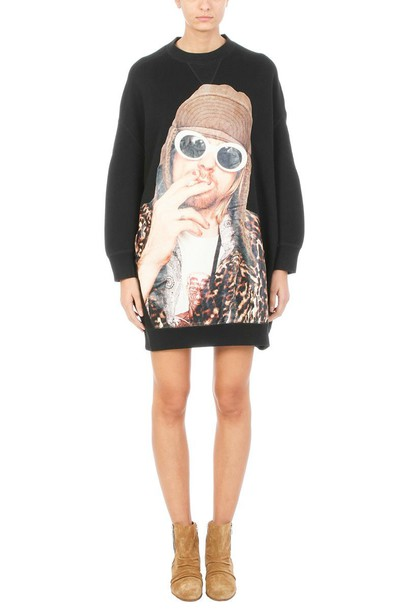 R13 dress sweatshirt dress oversized cotton print black