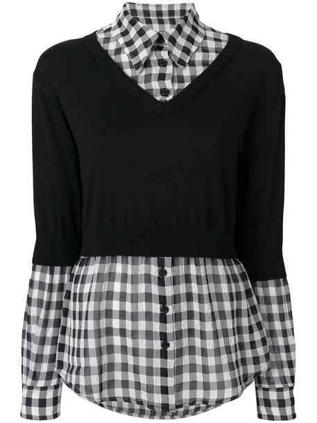 BOUTIQUE MOSCHINO shirt women layered cotton black wool gingham top