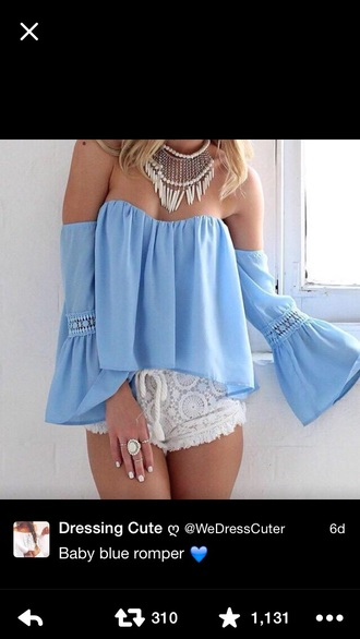 romper jumpsuit blouse shorts baby blue lace blue shirt chiffon blouse solid color off the shoulder top top two-piece dress pink silk satin mini dress red dress silk dress satin dress
