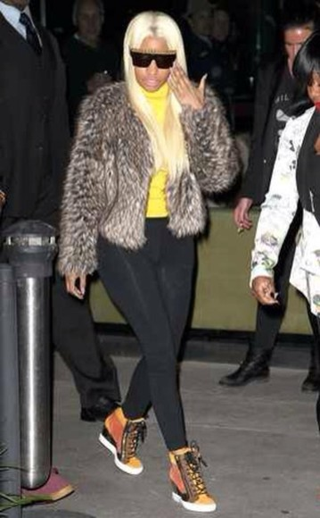nicki minaj shoes coat sunglasses
