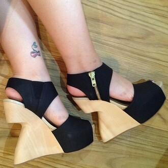shoes heels wedges platform shoes black zip up summer open toes