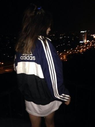 jacket adidas adidas jacket windbreaker bomber jacket white navy black girl logo
