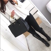 jeans,shirt,shoes,jewels,jacket,boots,black,white,blouse,bag,pants,wellies,classy,prada bag,white blazer,bussines,gold jewelry,leggings,purse,rubber,winter outfits,prada,top,white blouse,thin,weheartit,girly,style,white jacket,selfie,black jeans,handbag,blogger,prada handbags,belt,coat,long sleeves,blazer,skinny,cardigan