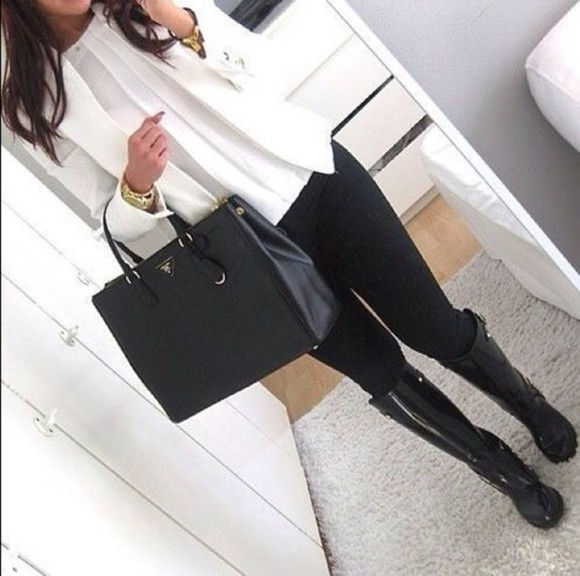 bag prada jeans shirt shoes jewels jacket prada bag wellies white blazer bussines gold jewelry winter outfits rubber