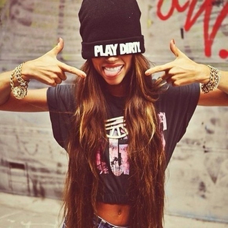 hat accessories accessory jewels jewelry bracelets black black hat t-shirt shirt streetwear streetstyle crop tops beanie grunge gold cropped black beanie