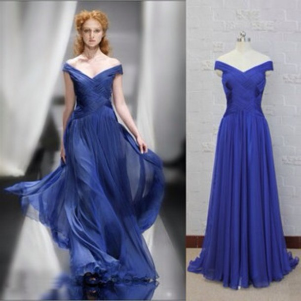 Dress: red carpet dress, blue dress, long prom dress, blue prom ...
