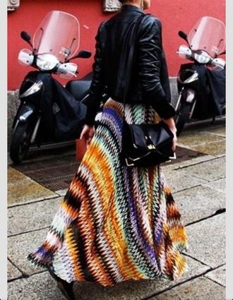 skirt maxi skirt multicolor leather jacket