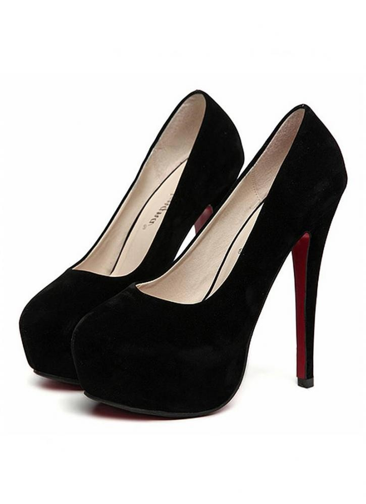 Black Suede Look High Heels with Almond Shaped Toe
