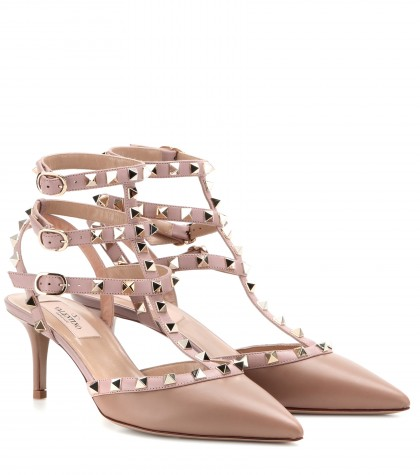 mytheresa.com -  Rockstud leather kitten-heel pumps - mid heel - sandals - shoes - Luxury Fashion for Women / Designer clothing, shoes, bags