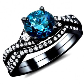 jewels blue diamond ring blue rings engagement ring evolees cubic zirconia engagement rings