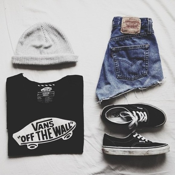 vans vans off the wall shorts high waisted short jeans high waisted denim shorts high-waisted shorts grey beanie sweater black dope blouse t-shirt shoes shirt hat summer t shirt vans sneakers beanie beanies denim vintage levis high waisted jeans hipster vintage white writing shedow black, vans of the wall