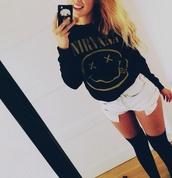 sweater,nirvana,oversized sweater,black sweater,band,rock,shorts
