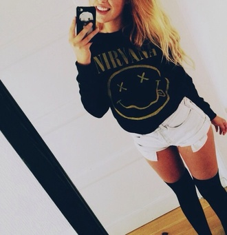 sweater nirvana oversized sweater black sweater band rock shorts