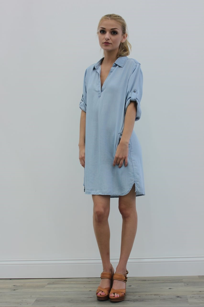 Dahl A-Line Shirt Dress in Sunbleach Wa