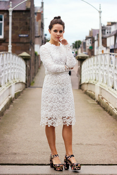 floral shoes white dress platform shoes jewels blogger the little magpie lace dress lace high heels white lace dress white wedding clothes wedding dress classy elegant
