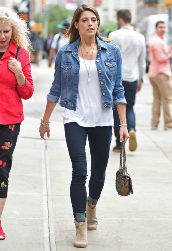 jacket ashley greene shoes shirt necklace jewels denim jacket jeans