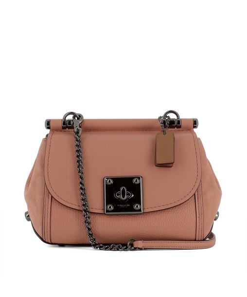 coach bag shoulder bag leather pink pink leather