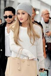 grey beanie,ariana grande,ariana grande grey beanie,bag,make-up,clothes,cute