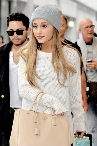 ariana grande gray beanie ariana grande grey beanie hat bag grey beanie sweater white long sleeves fluffy comfy ariana grande pursue white dress cardigan pink beanie chanel cute sweaters cute dress cute