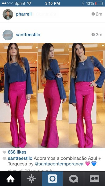 pants pink bell bottom