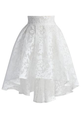 skirt chicwish cameillia skirt water skirt white skirt mesh skirt party skirt chicwish.com jacquard skirt