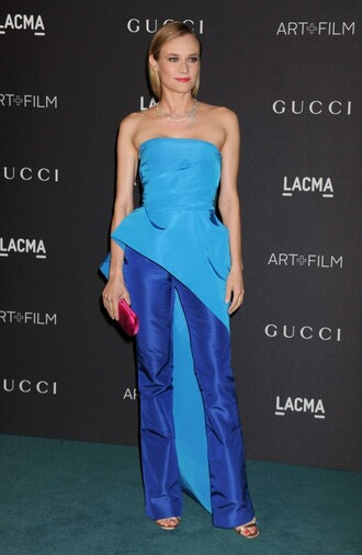 pants top strapless diane kruger blue