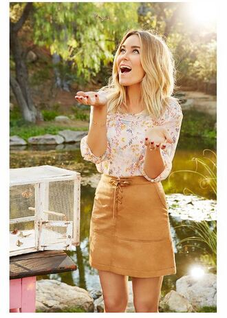 blouse skirt fall outfits blogger lauren conrad mini skirt floral suede