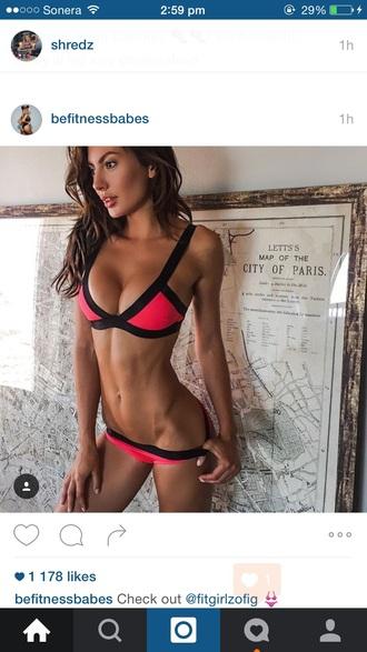 swimwear black pink bikini